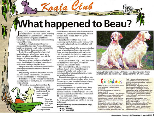 Queensland Country Life, The Bush Bible, Finding Beau, Stolen Dog
