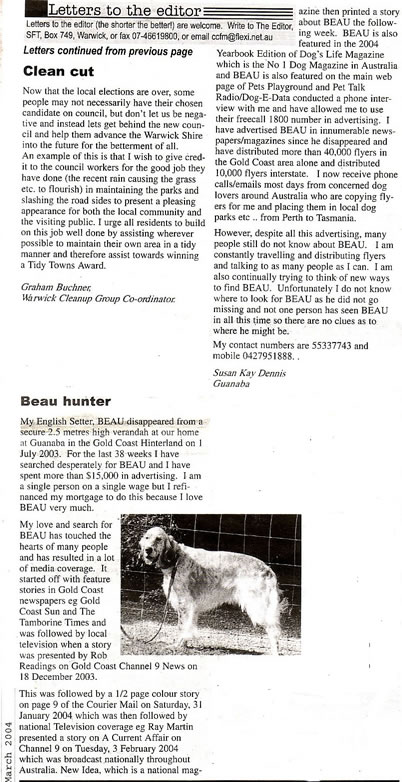 southern free times, finding beau, stolen dog, gold coast, australia